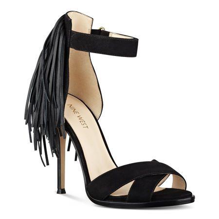 Black Hustle Fringe Back Open Toe Sandals | Nine West