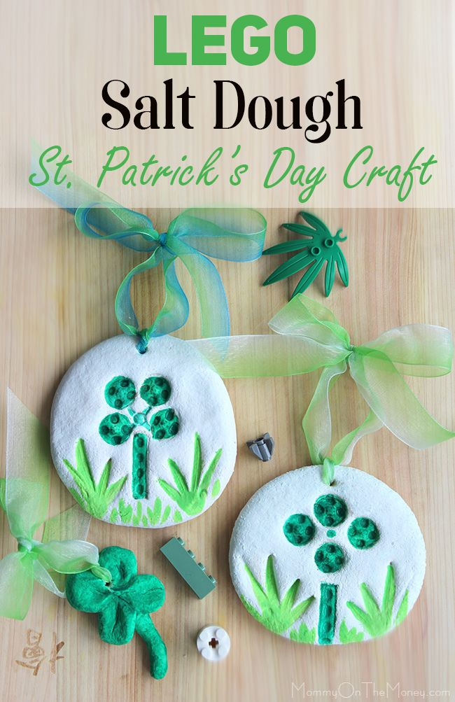 We came up with this easy and fun St. Patrick's Day LEGO Shamrock salt dough stamping craft and made some cute little decorations!