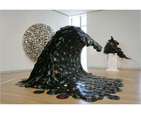 Okay - maybe only if you have GIANT home, but  Iove this use of recycled vinyl records into a wave.  If I had a monstrous space for this I would love to have it.