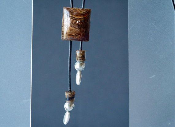 Petrified Wood Men's Bolo Tie with Fine by WallisReidJewelry