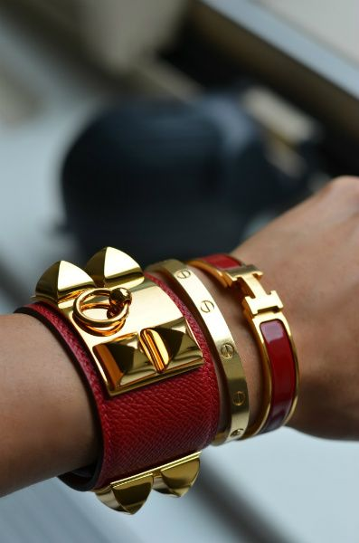 4e6ec6a40f51 Amazing Hermes Bracelet Stack, Hermes CDC, Hermes clic clac and Cartier  Love Bracelet. I must get this combination! Perfection