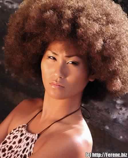 Afro Natural Hair Japanese Model In Hawaii