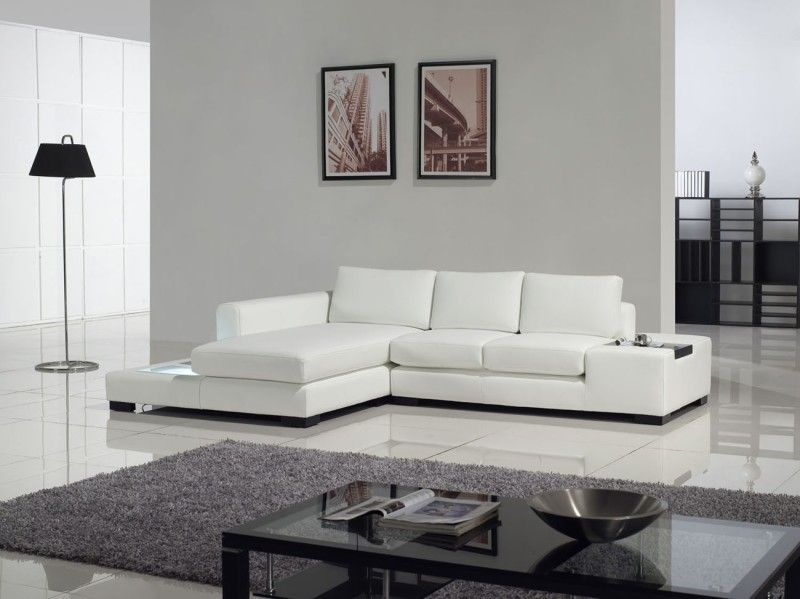 Furniture Modern White Compact Leather Sectional Sofa Leather