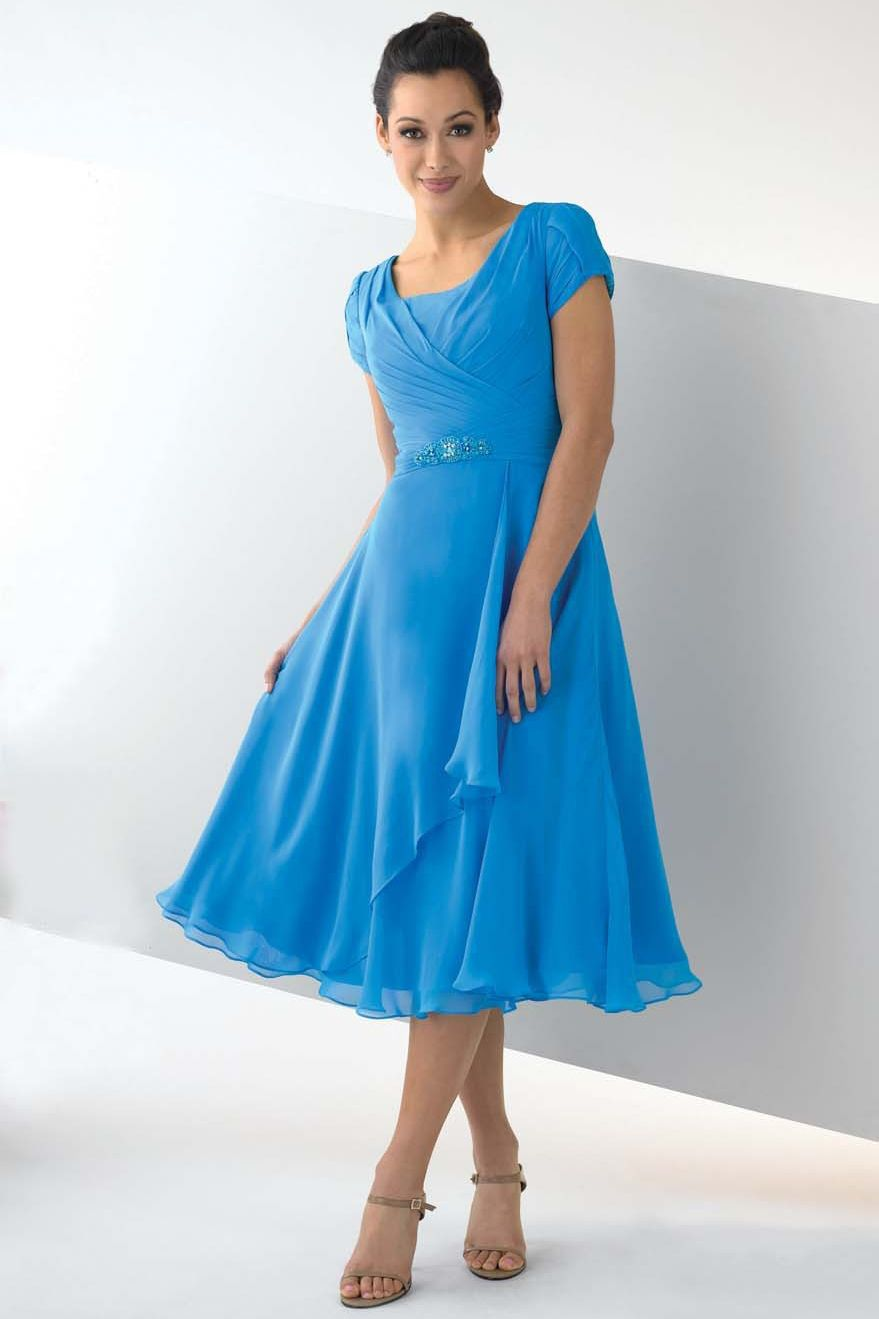 Tea Length Mother Of The Bride Dress A Line Short Sleeve Ruffled USD ...