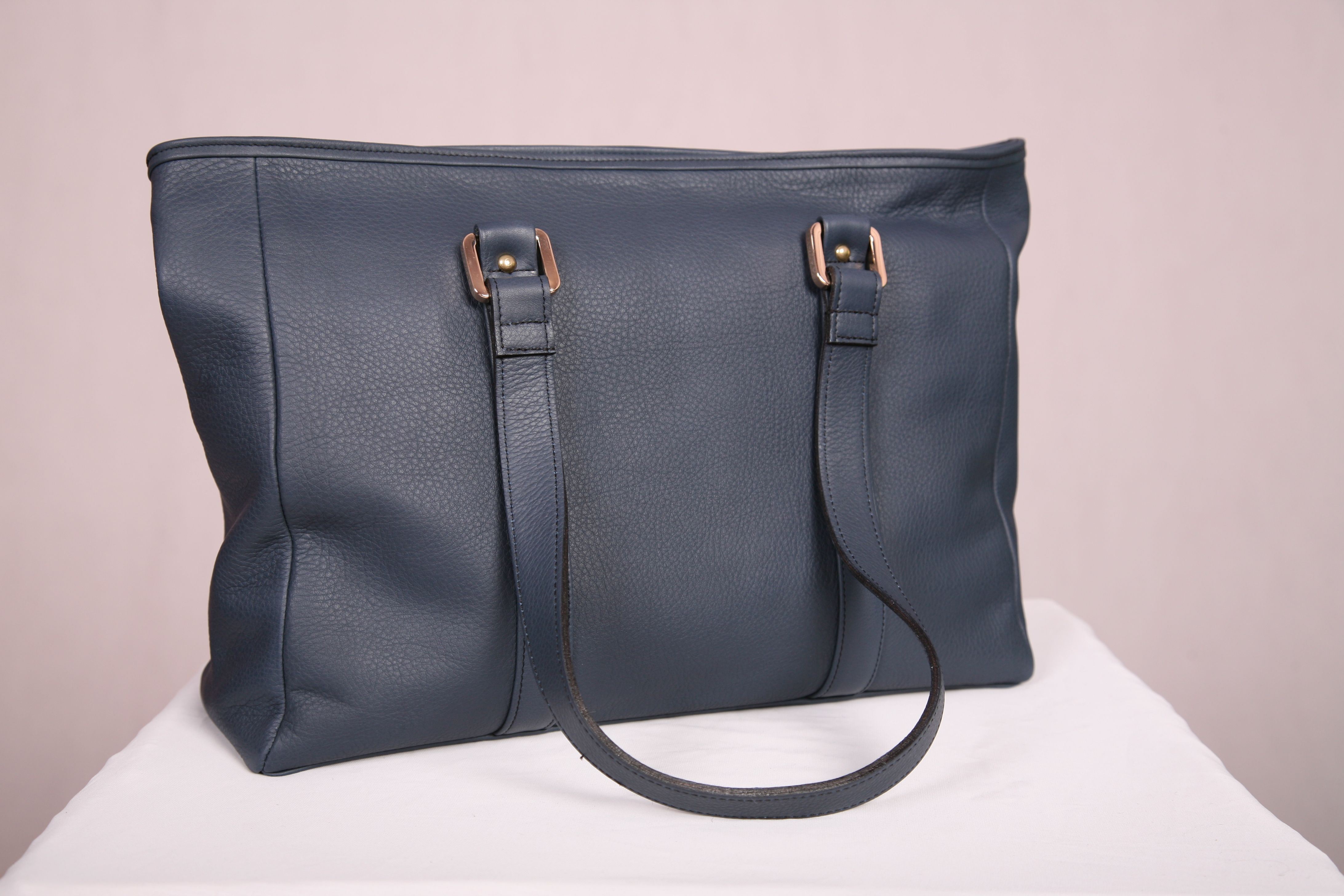 Navy premium leather everyday tote handcrafted in Australia by ...