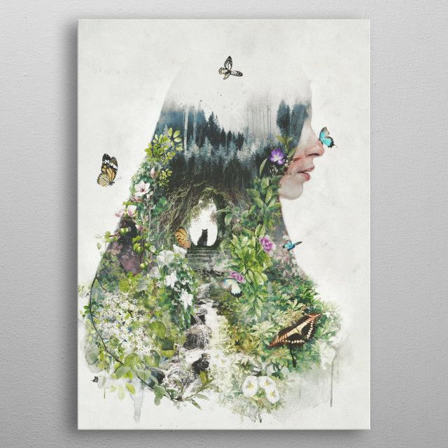 A Cat in the Garden is my original surrealism nature pi … Poster made out of metal.