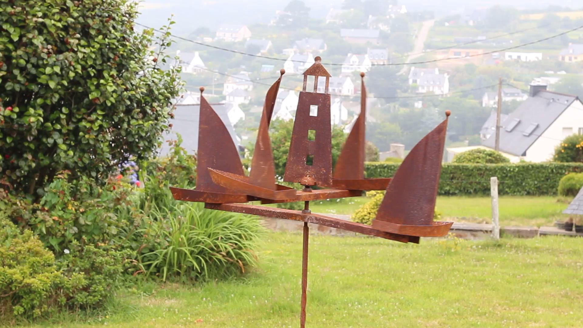 Mobile bateau Voiliers et Phare en fer brut
