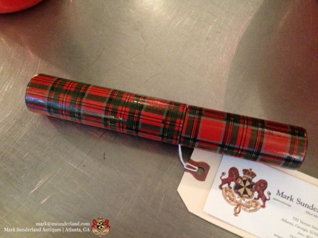 """Antique (c 1870's) tartan ware cylindrical box (marked: Stuart)...probably for fireplace match sticks 8""""L x 1.25 R $289"""