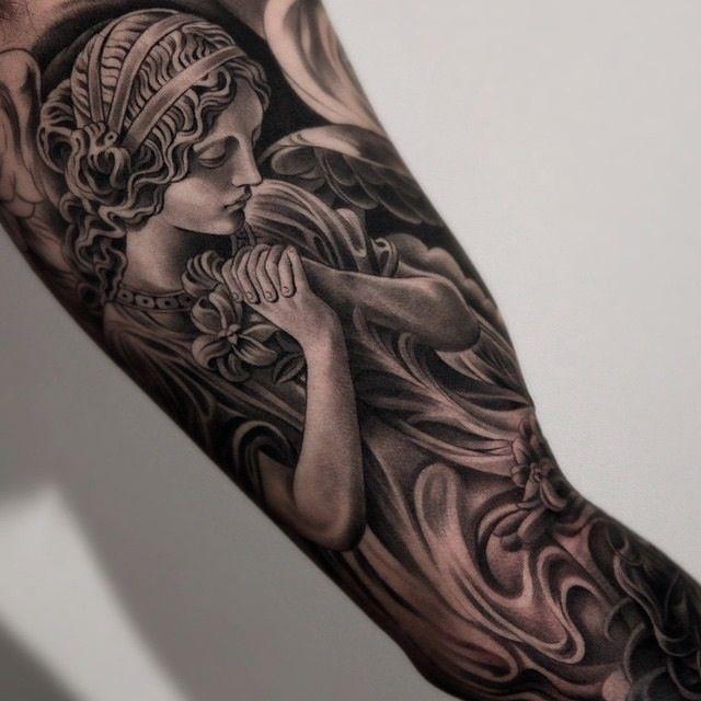 2263a4b0878f7 Amazing artist Jun Cha inner arm angel tattoo. | Tattoos | Bicep ...