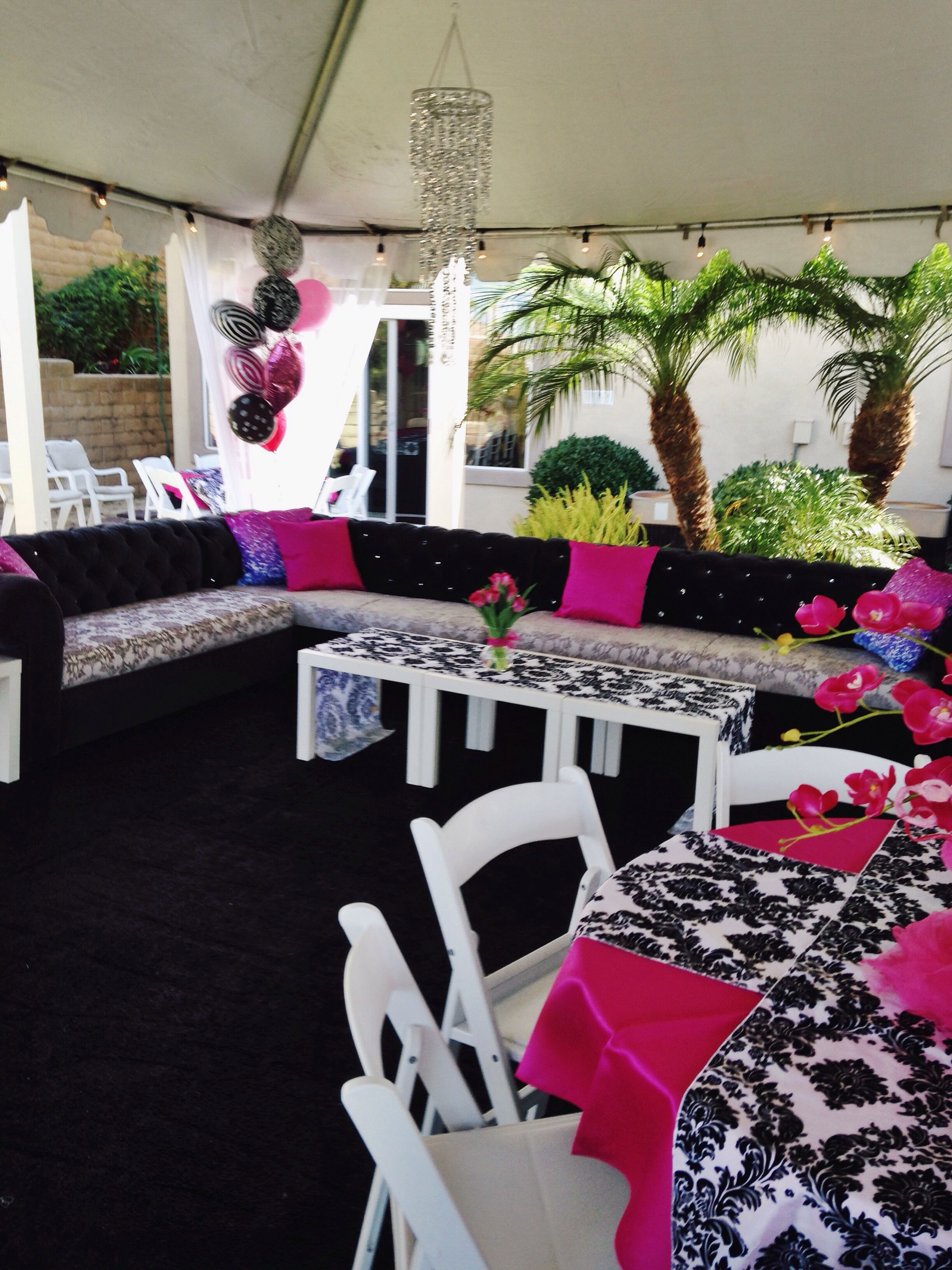 Damask lounge chair - Baby Shower Lounge Sectional Coffee Tables Black And White Damask Runners White