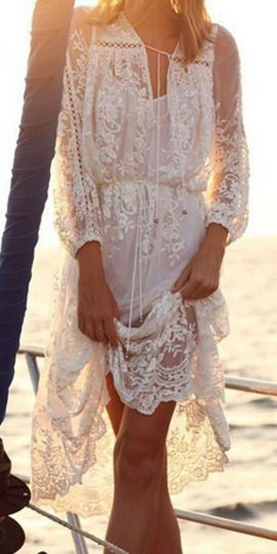 b56dfade065 Romantic Bohemian Style Solid Color Lace See-Through Long Sleeve Dress  #Romantic #Bohemian #Style #White #Lace #Dress