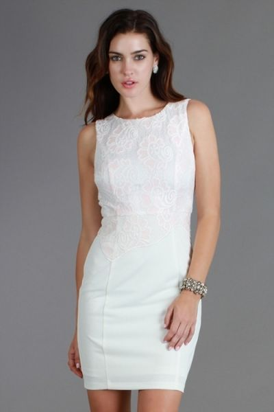*** Solid Dress *** Sleeveless dress with lace textured bodice.