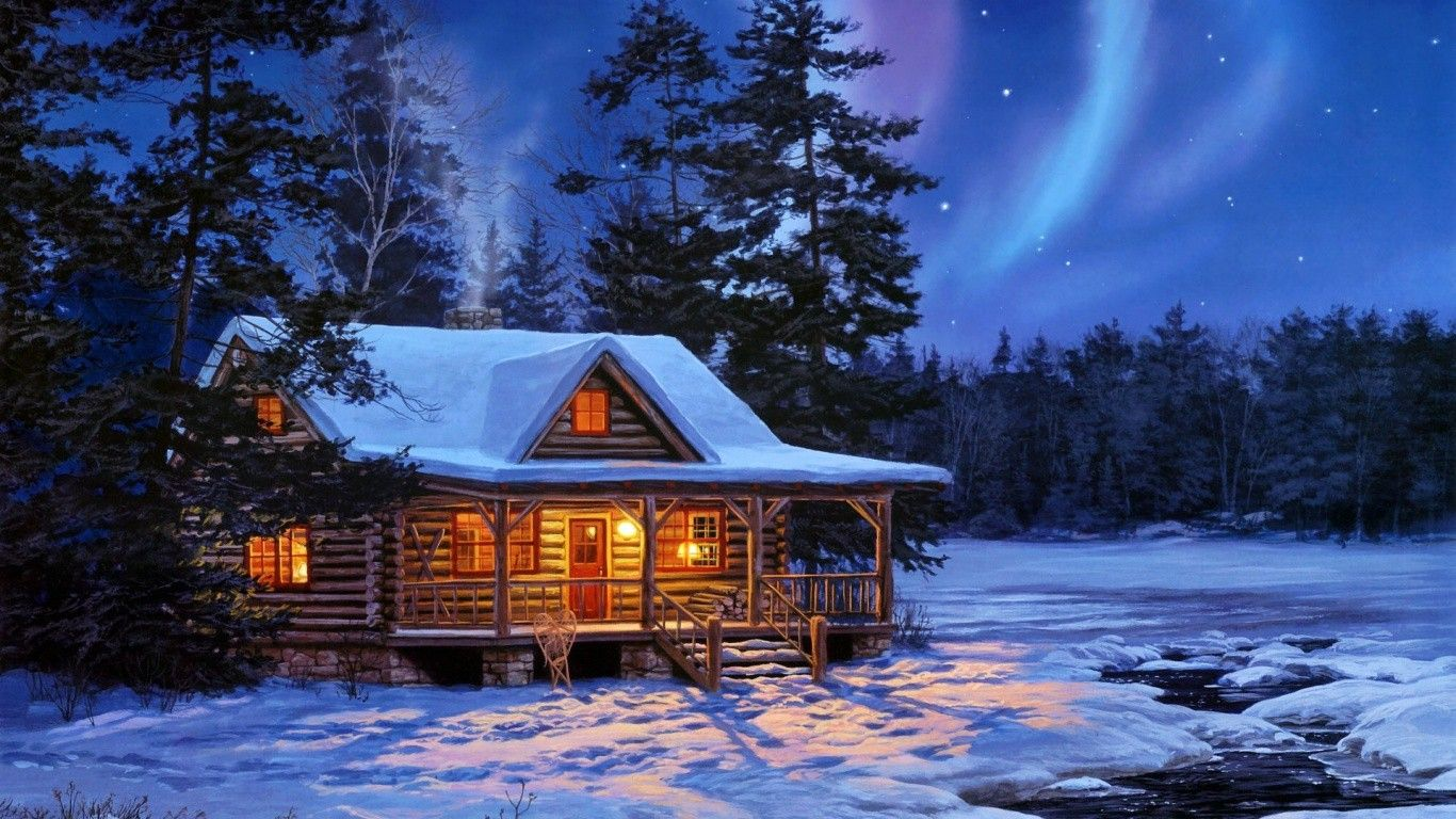 Log cabin in the woods winter - Cabin Tag Wallpapers Page Christmas Woods Forest Winter