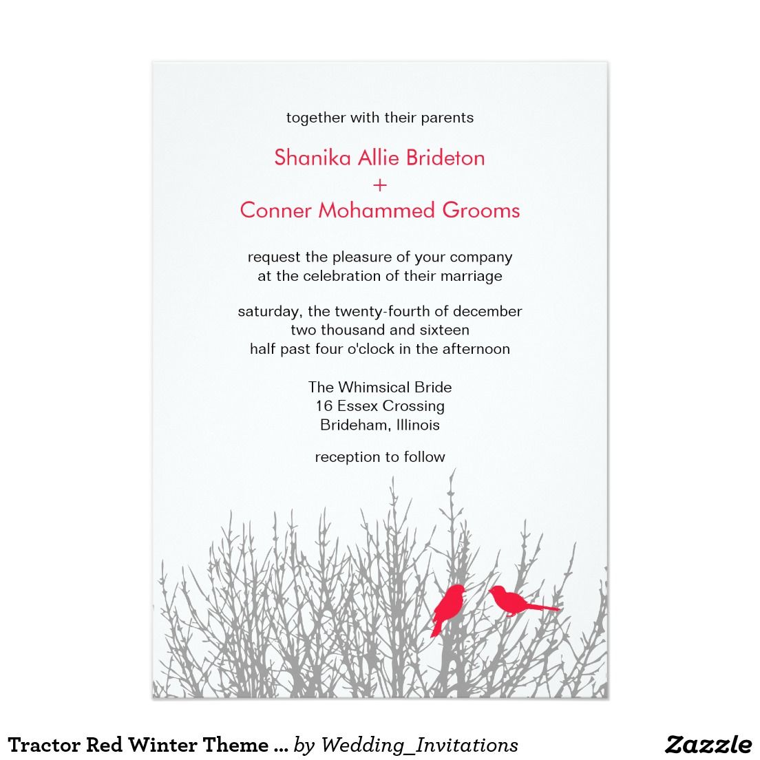 Tractor Red Winter Theme Wedding Template 5x7 Paper Invitation Card ...