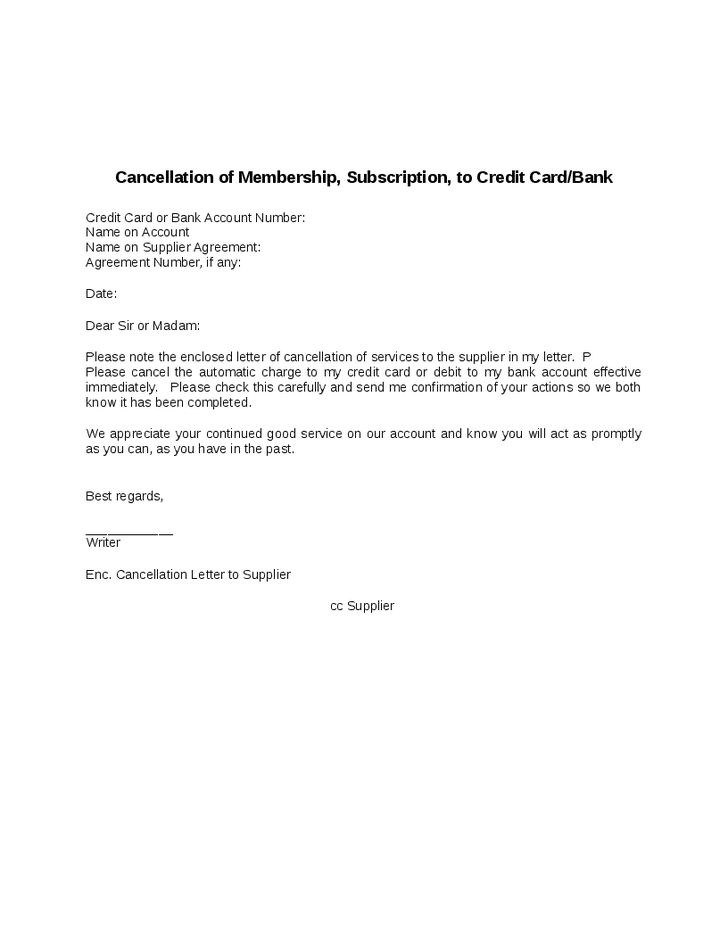 Cancellation Membership Credit Card Bank Hashdoc Sample Letter