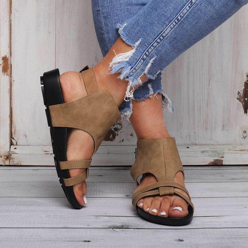 2cb980d03705 COMFY SOLE STRAP BEACH FLAT SANDALS  Sandals  Leatrend