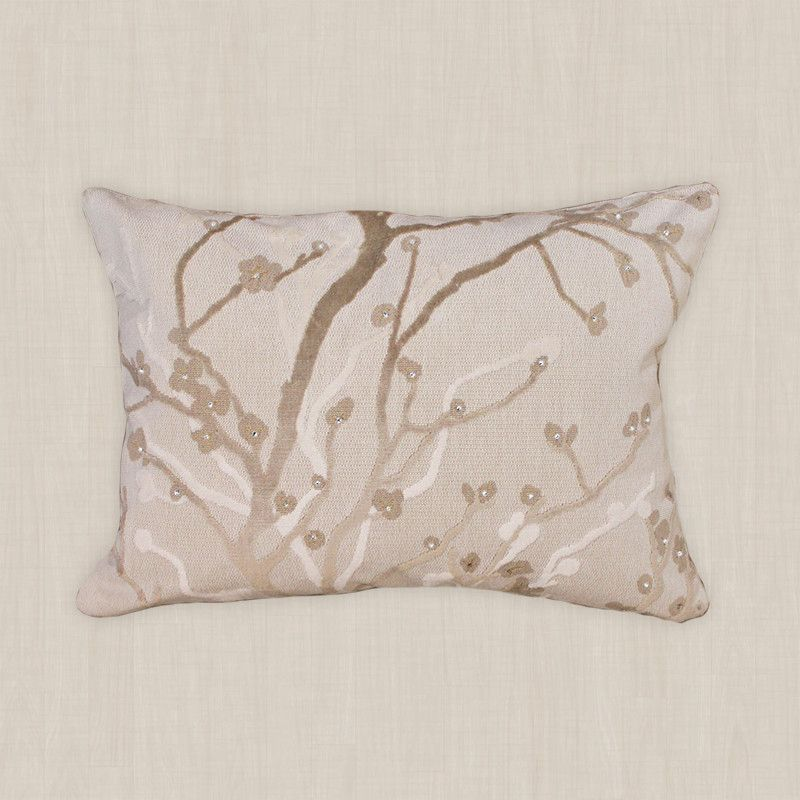 This pillow cover with its invisible zipper is made with Lee Jofa Taupe / Platinum Etched Plum Blossom Branch Velvet upholstery fabric and embellished with Swarovski Elements. | Rosalind J.