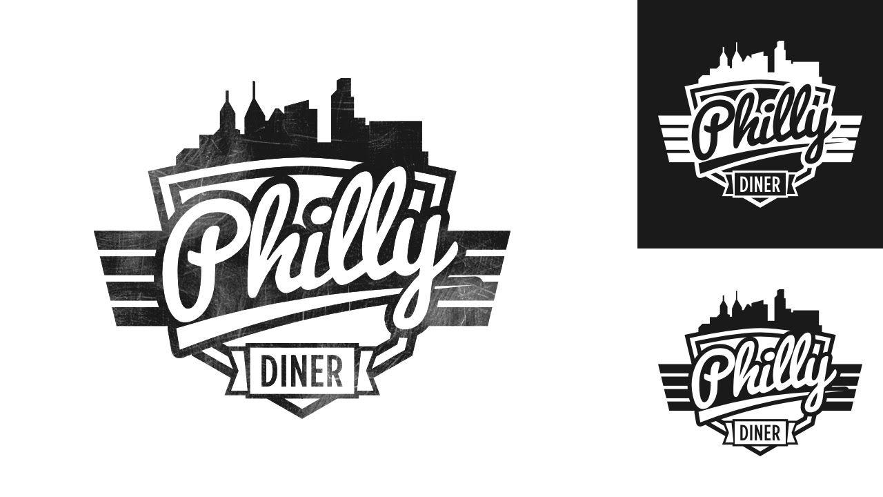 Logo Design Time Lapse Philly Diner Inkscape Logo Design Design Vintage Concepts