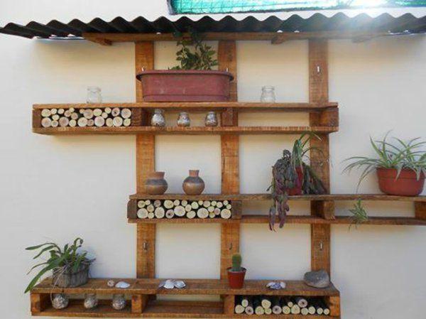 Basteln Europaletten Wandregale Holz Blumentöpfe