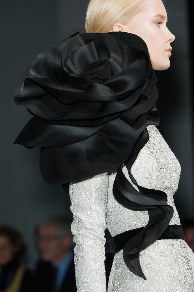 Elegant dress with oversized sculptural black rose detail - 3D flower fashion; wearable art // Ralph & Russo Haute Couture