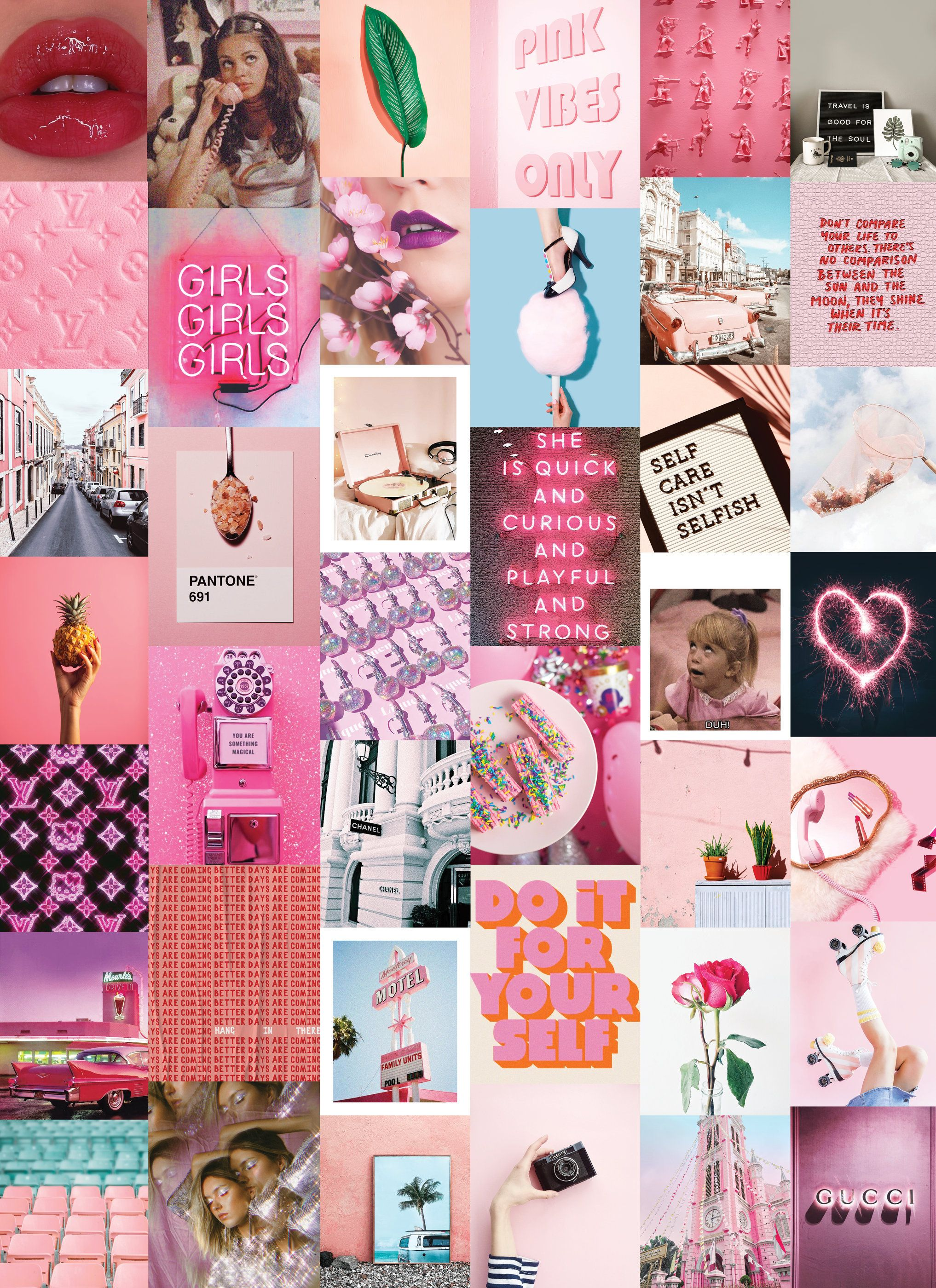 Neon Pink Wall Collage Kit Digital Etsy In 2020 Wall Collage Wall Collage Decor Pink Walls