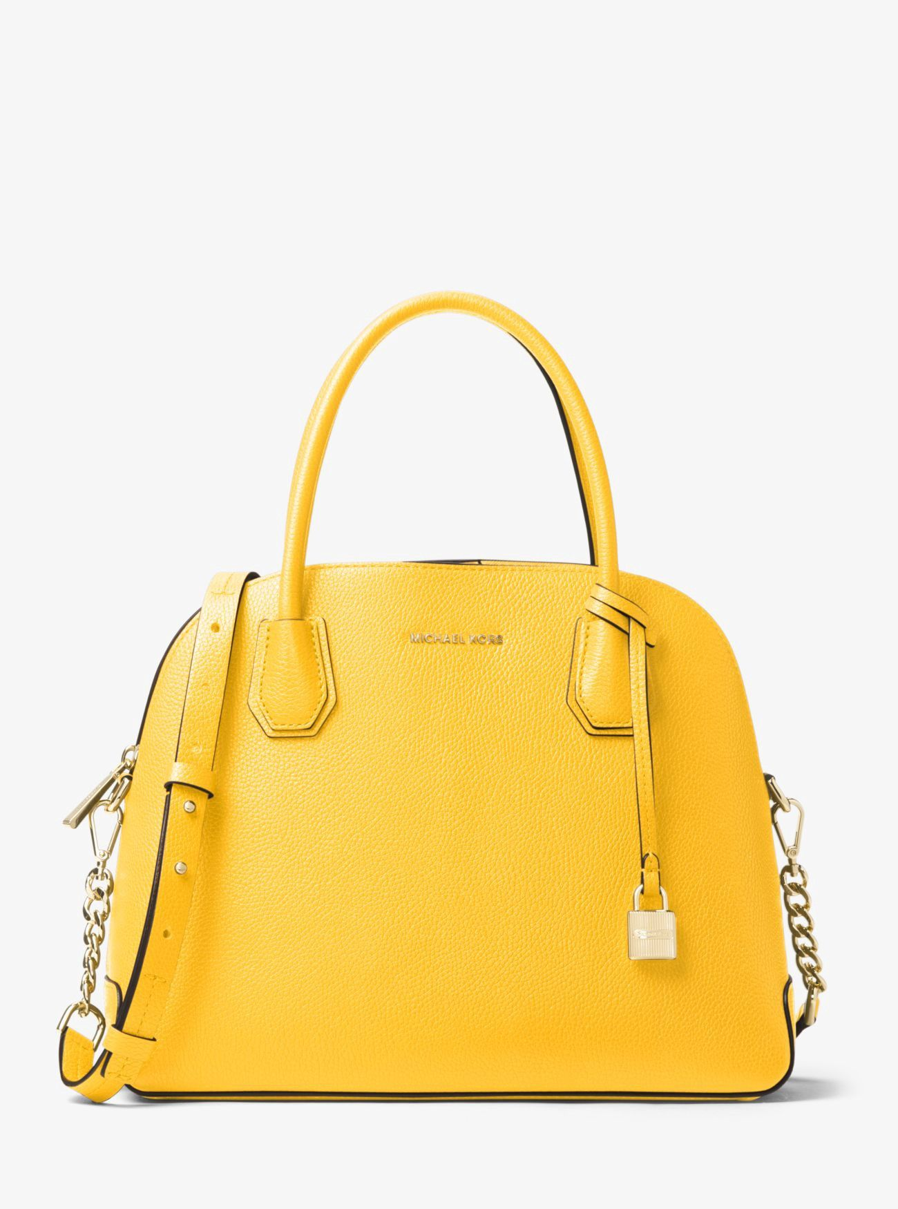 e0397f004b2f MICHAEL KORS Mercer Large Leather Dome Satchel. #michaelkors #bags  #polyester #leather #lining #satchel #shoulder bags #hand bags #