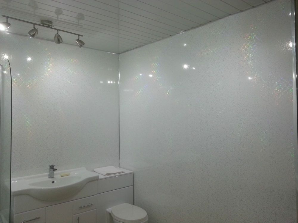 8 White Sparkle Diamond Stone Bathroom Wall Panels Decorative Shower  Cladding