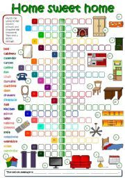 English Worksheet: Home Sweet Home   Parts Of A House U0026 Furniture (Bu0026W +  KEY Included)
