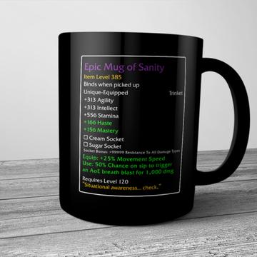 Epic Mug Of Sanity Wow Video Game Mug Black Ceramic 11oz Coffee Tea Cup Gift Funny Coffee Mugs Mugs Funny Coffee Gifts