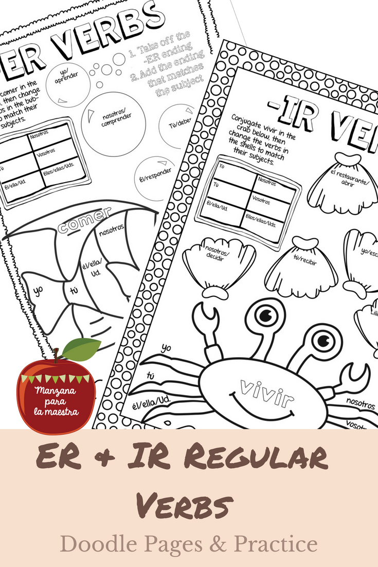 Engage Your Students With These Er And Ir Regular Verb Doodle Notes For The Beginner Spanish Classroom With Workshee Doodle Notes Learning Spanish Doodle Pages [ 1102 x 735 Pixel ]