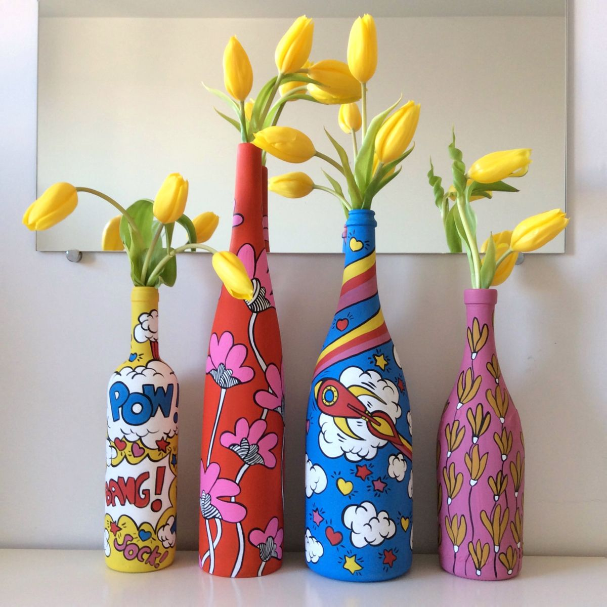 Bottiglie dipinte   Bottiglie dipinte, Disegni pittura su ...