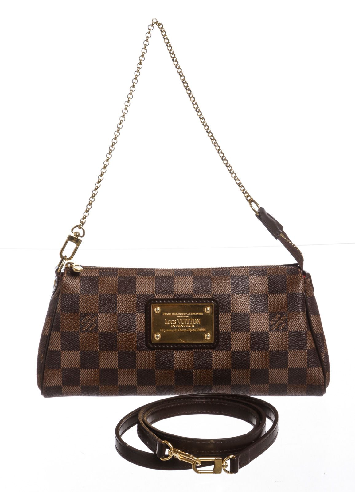 972cfebf6 Louis Vuitton Damier Ebene Canvas Leather Eva Pochette Clutch Bag ...
