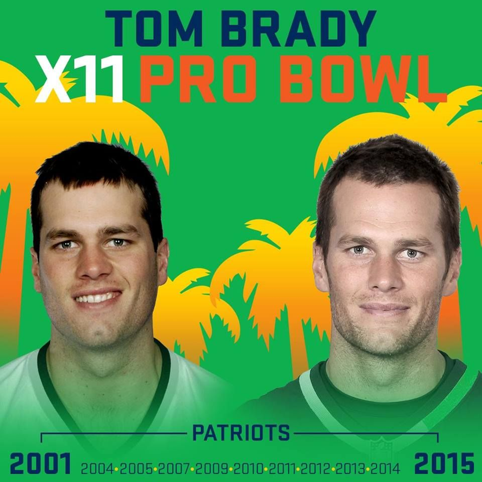 THEN AND NOW: A look at New England Patriots QB Tom Brady in his 1st Pro Bowl (2001)... and his most recent (2015)  12/22/2015