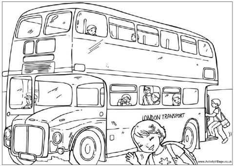 London Bus Colouring Page Englanti Eurooppa
