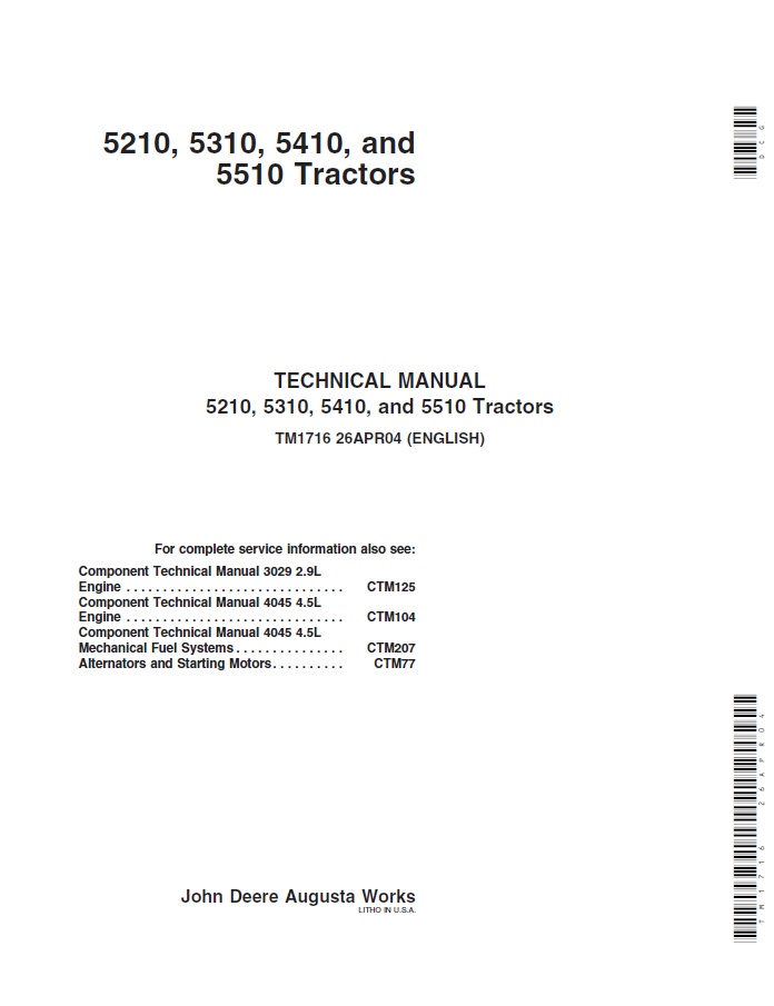repair manual john deere tractors technical manual pdf john deere 5210 5310 5410 5510 tractor technical manual tm 1716 repair manual