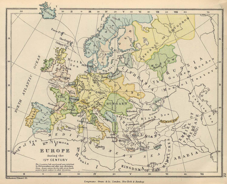 Map of 15th century Europe
