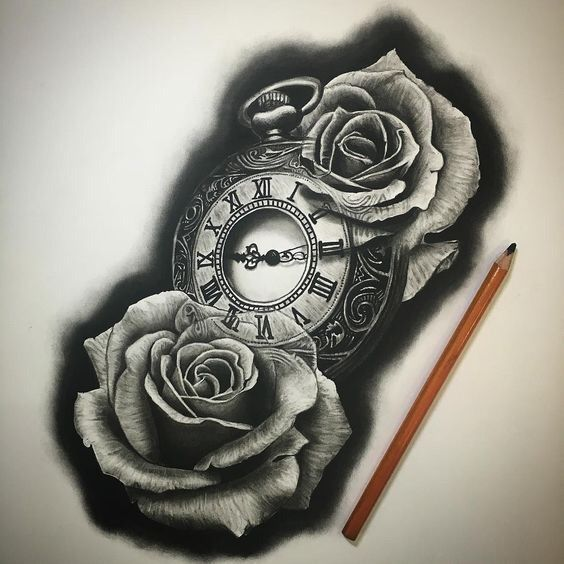 Clock And Roses Tattoo: Pin By Skyler Hall On Tattoo