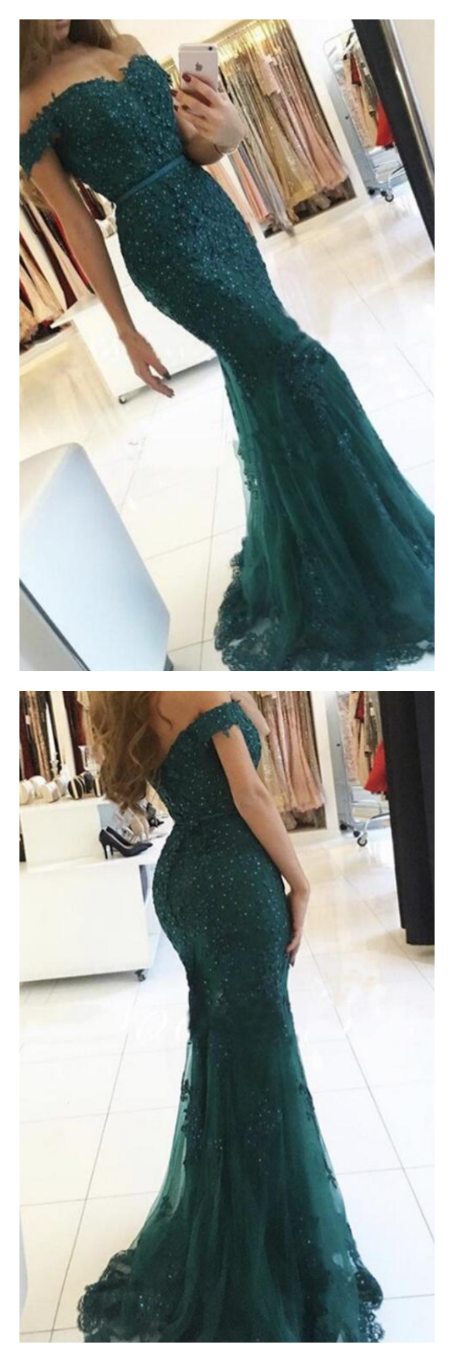 Dark green off shoulder lace long mermaid prom dresses ed