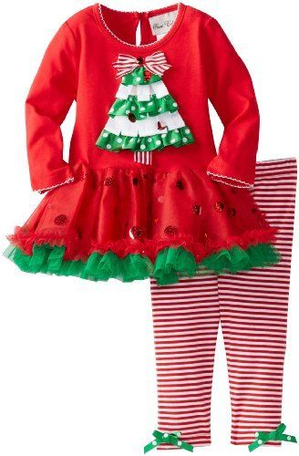 809d5c85683f Rare Editions Baby Baby-girls Infant Stripe Christmas Tree Tutu Legging Set