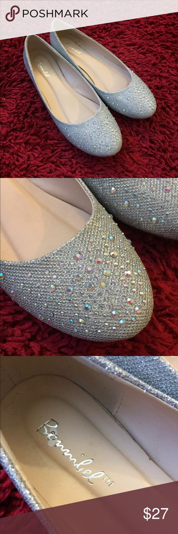 10117865f Bonnibel silver rhinestone flats wedding shoes Women's Bonnibel flats Size  8.5 Silver Rhinestones on toes These