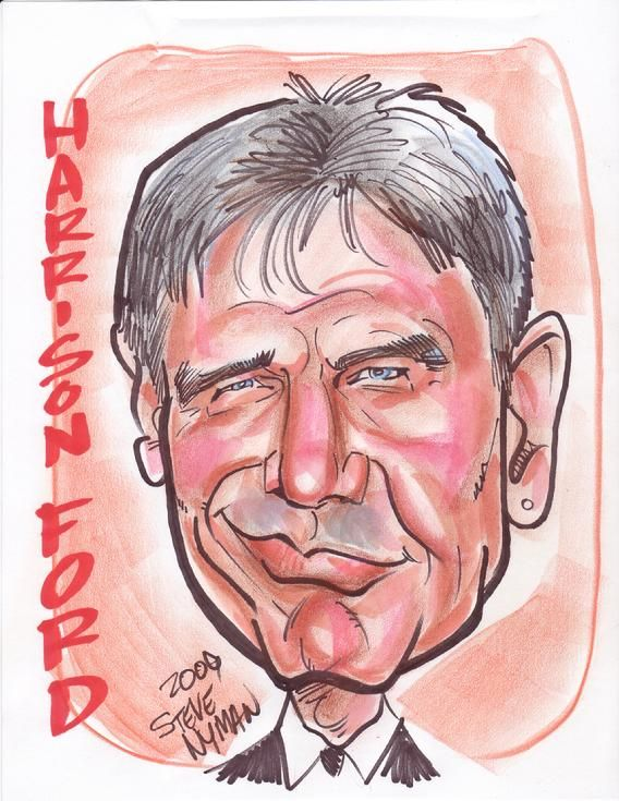 Caricature of Harrison Ford by www.aaacaricatures.com  Harrison Ford (born July 13, 1942) is a famous celebrity and actor. Ford is best known for his performances as Star Wars' Han Solo. Harrison also is well known for the Indiana Jones films. He is also had roles as in Blade Runner and as and asJack Ryan in Patriot Game and Clear and Present Danger.
