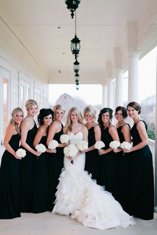 Bridesmaids in black too dark or just perfect black bridesmaids black bridesmaids dresses and all white flowers ooooi like it mightylinksfo