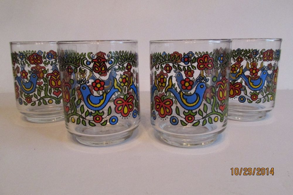 Gorgeous Set Of Four Corning Libbey Country Festival Juice Glasses ~ MINT!!