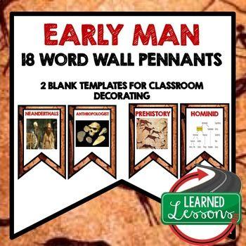 Photo of Early Man Word Wall Pennants, World History Word Wall (18 Words)