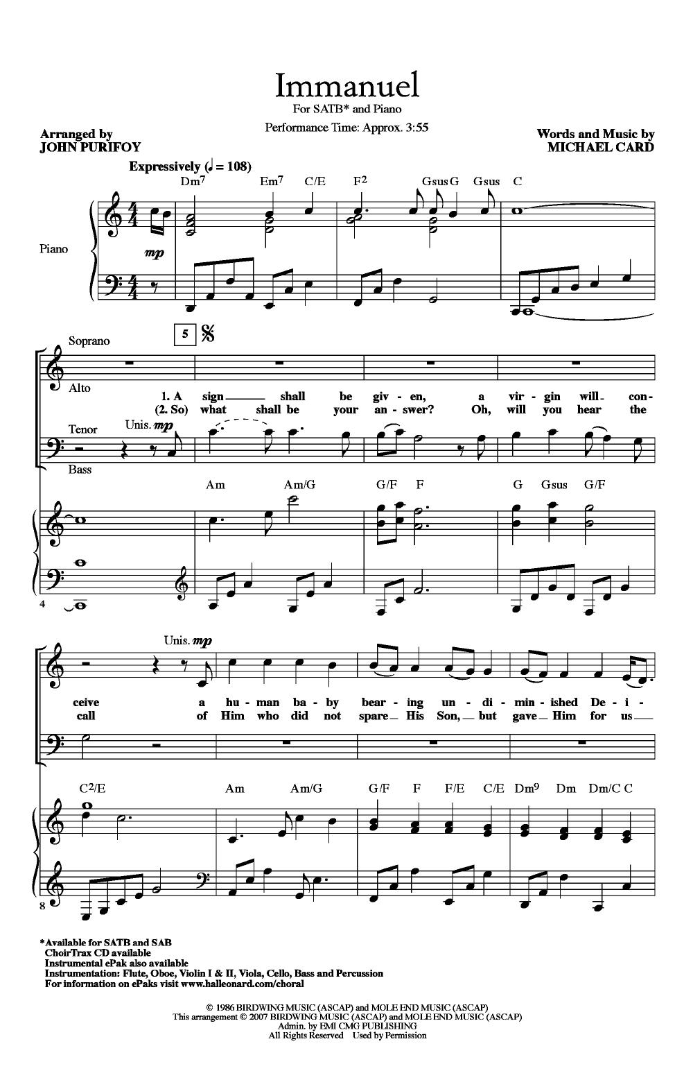 Immanuel Satb Arr John Purifoy Choral Sheet Music Immanuel Sheet Music