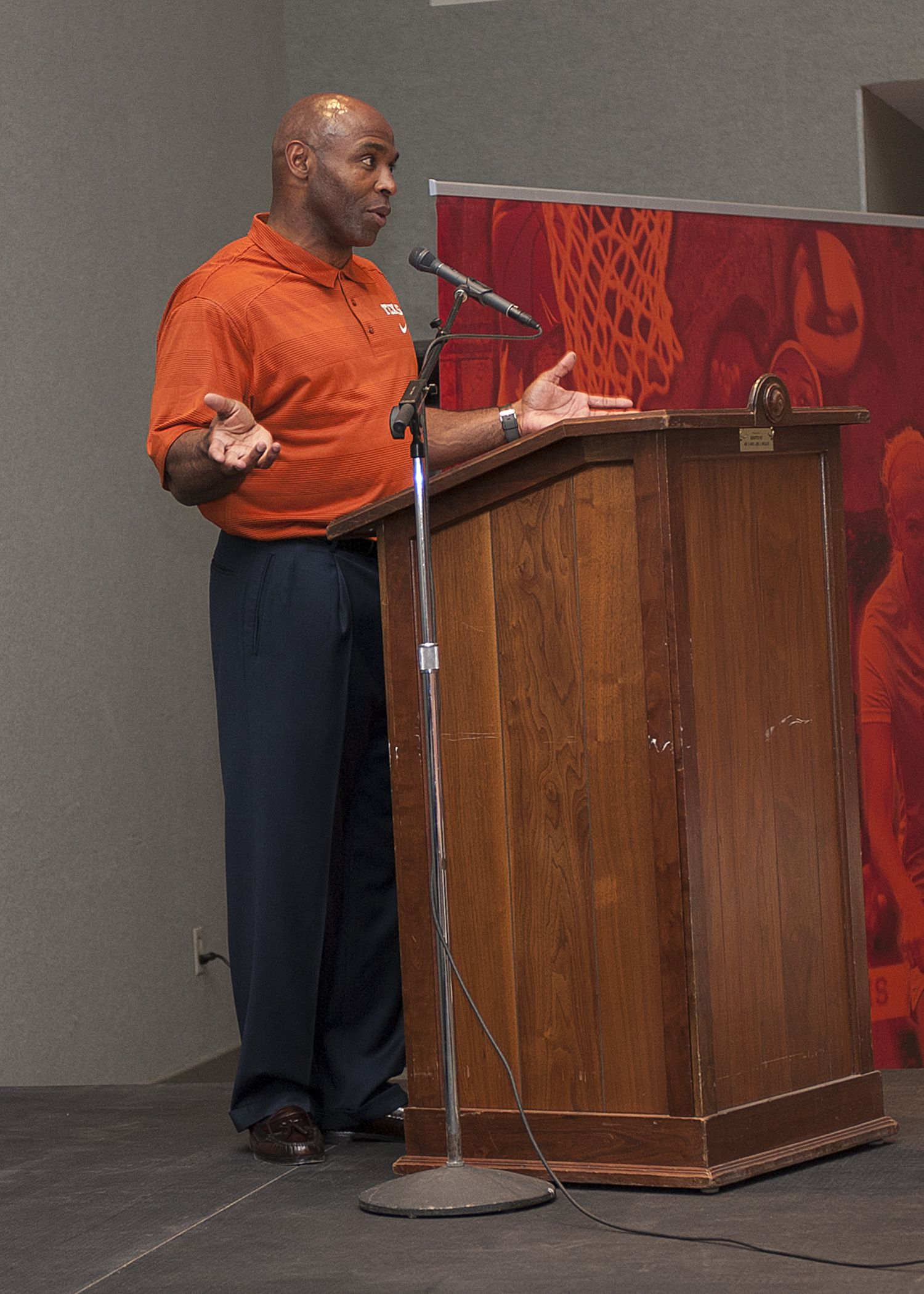 AMARILLO: Texas Football head coach Charlie Strong addresses the ...