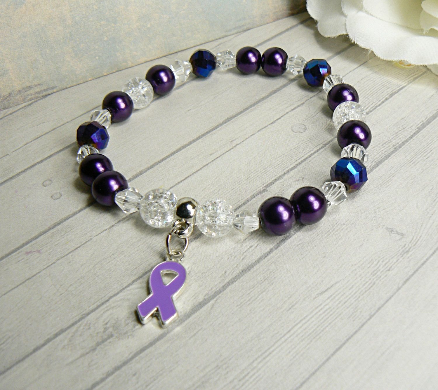 with and accented glass beautiful purple pancreatic crystals ribbon awareness fibro bracelet epilepsy cancer lupus crohns swarovski pin pearls alzheimer