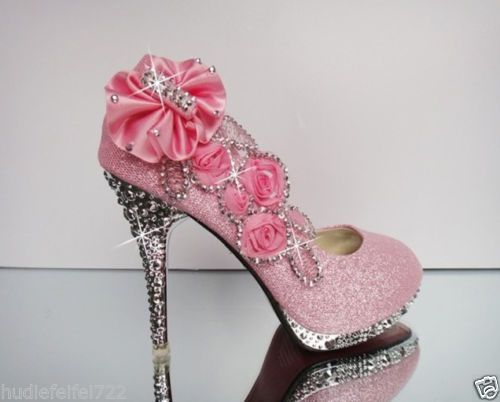 44ddb02d6fef Hot Pink Silver Beautiful Vogue Lace Flowers Crystal High Heels Wedding  Shoes
