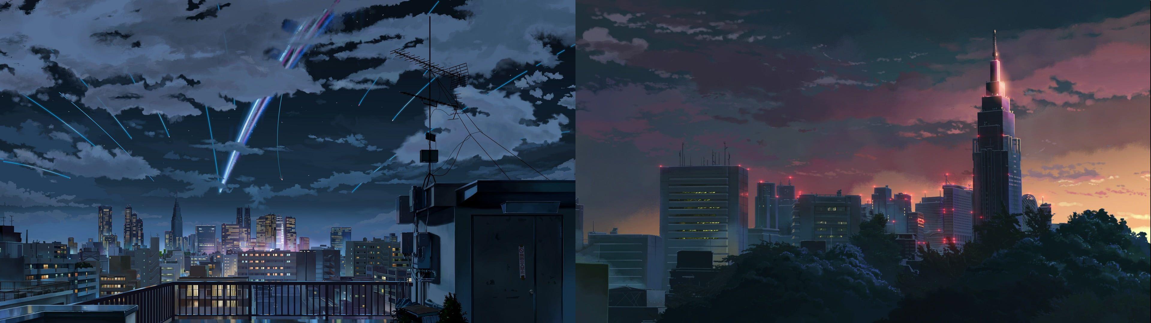 Gray Concrete Buildings Collage Kimi No Na Wa Anime Dual Monitors The Garden Of Words Makoto Shinkai Kimi No Na Wa Dual Monitor Wallpaper Concrete Buildings
