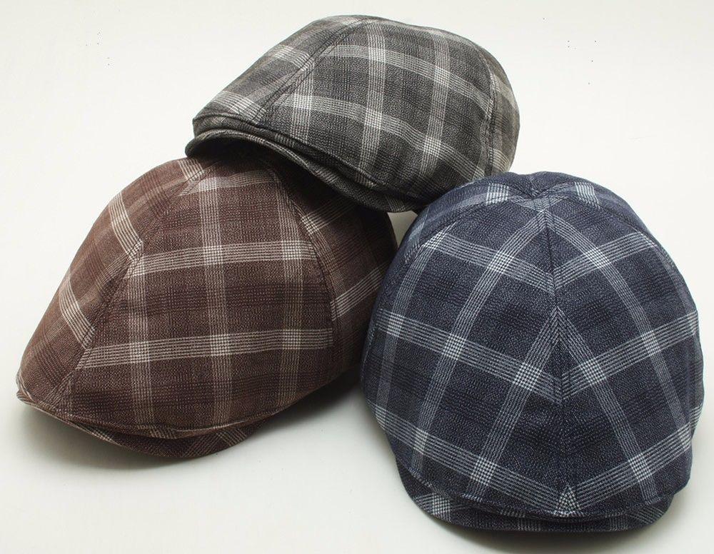 Check Newsboy Flat Hat Plaid Pattern Ivy Golf Cap Duck Bill Design Cabbie  SLN9  Duck bill  Newsboy Check flat cap 7179d18af45